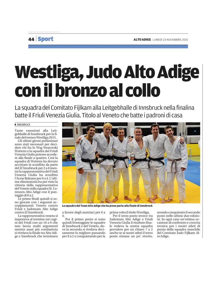 Alto Adige: Westliga, Judo Alto Adige con il bronzo al collo